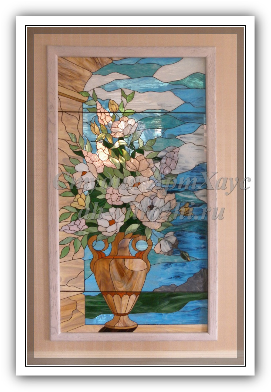 Фото картины цветов на стекле