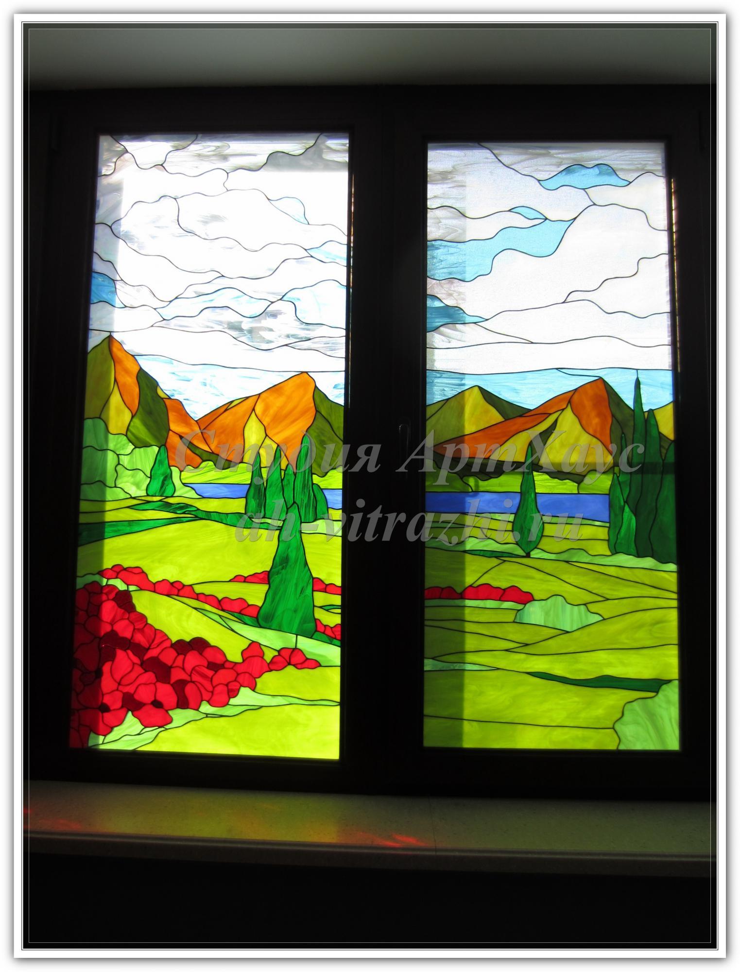 витражи рисунки пейзаж по стеклу схема